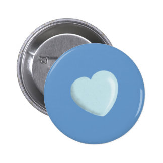 DELICATE BABY BLUE ROUNDED HEART BOY SWEET LOVE 2 INCH ROUND BUTTON
