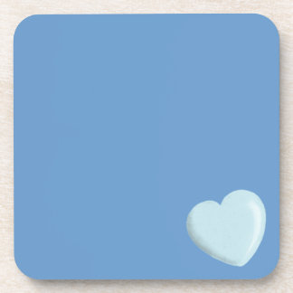 DELICATE BABY BLUE ROUNDED HEART BOY SWEET LOVE DRINK COASTER