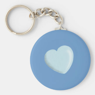 DELICATE BABY BLUE ROUNDED HEART BOY SWEET LOVE KEYCHAINS