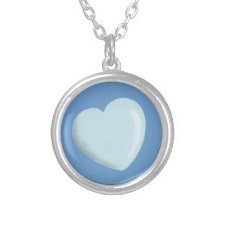 DELICATE BABY BLUE ROUNDED HEART BOY SWEET LOVE PERSONALIZED NECKLACE