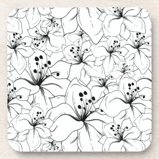 Delicate Black and White Floral Pattern Beverage Coasters