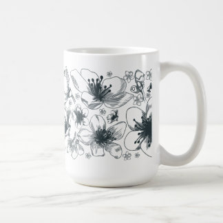 Delicate Black and White Flower Mug