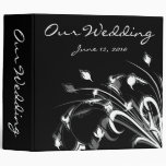 Delicate Black and White Flower Swirls Binders