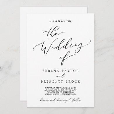 Delicate Black Calligraphy All In One Wedding Invitation