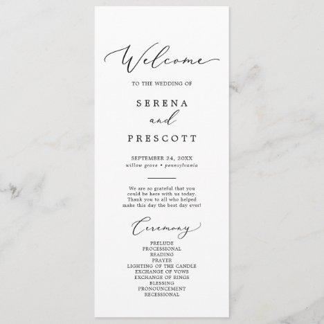 Delicate Black Calligraphy Wedding Program