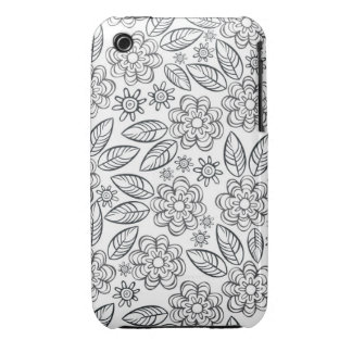 delicate black flowers on white Case-Mate iPhone 3 case