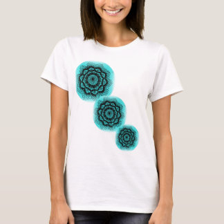 delicate black on turquoise pattern shirt