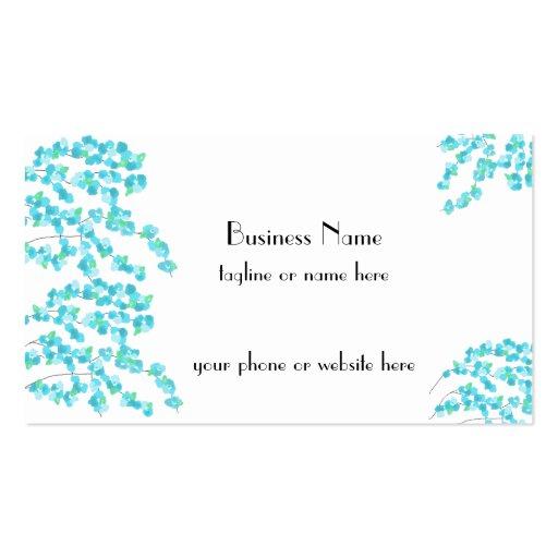 Delicate Blossoms (Aqua) Business Card Template
