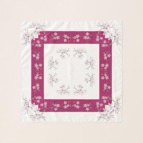 Delicate Blossoms Pink White  Square Chiffon Scarf