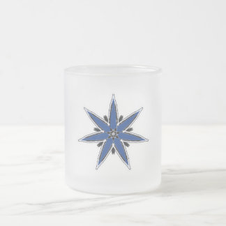 Delicate blue faerie star frosted glass coffee mug
