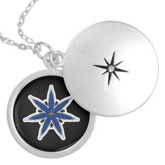 Delicate blue faerie star round locket necklace