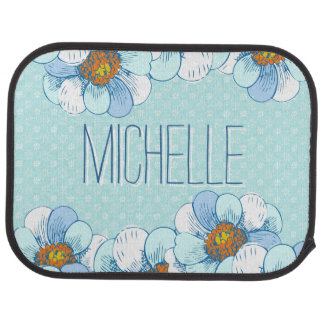 Delicate Blue Floral Pattern with Blue Daisies Car Mat