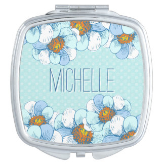Delicate Blue Floral Pattern with Blue Daisies Compact Mirror