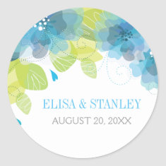 Delicate blue flowers floral spring wedding round stickers