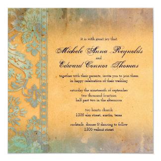 Delicate Blue Grunge Damask Lace Wedding Card