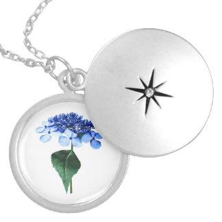 Delicate Blue Lacecap Hydrangea Round Locket Necklace