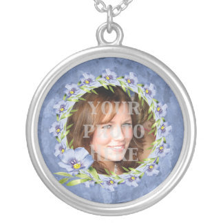 Delicate Blue Posies Custom Photo Silver Plated Necklace