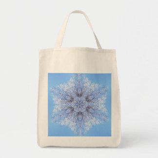 Delicate Blue Snowflake Fractal Bag