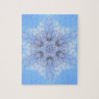 Delicate Blue Snowflake Fractal Jigsaw Puzzle