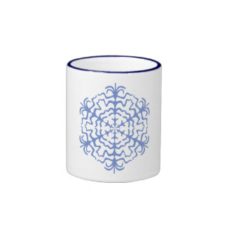 Delicate Blue Snowflake Ice Crystal Mugs