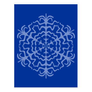 Delicate Blue Snowflake Ice Crystal Postcard
