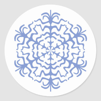 Delicate Blue Snowflake Ice Crystal Classic Round Sticker