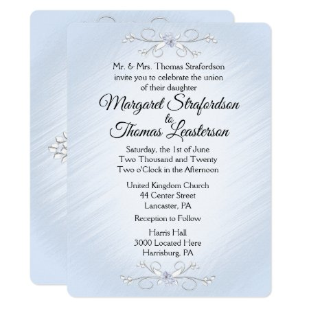 Delicate Blue Wedding Invitation