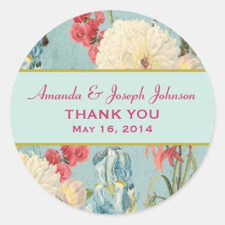 Delicate Botanical Wedding Thank You Round Sticker