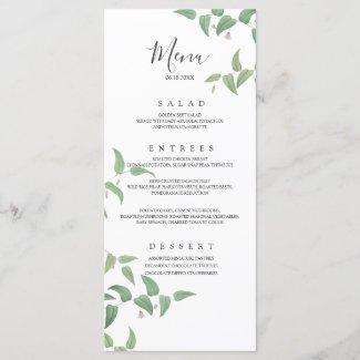 Delicate Botanical Wedding Vintage Greenery Menu