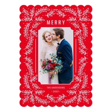 Christmas Themed Delicate Branches Holiday Floral Photo Card