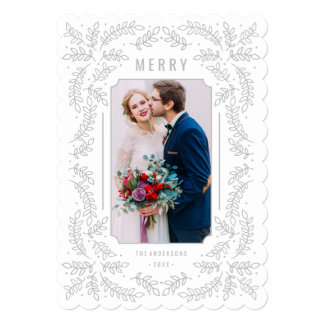 Delicate Branches Silver Holiday Floral Photo Card