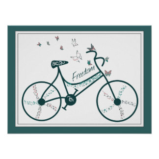 Delicate Butterflies Flowers and Freedom Bike fans Poster