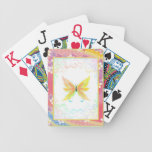 Delicate Butterfly and Paastel Japanese Flowers Poker Deck