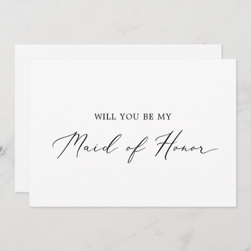 Delicate Calligraphy Maid of Honor Proposal Card
