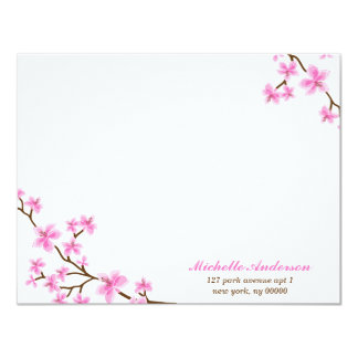 """Delicate Cherry Blossoms Custom Flat Note Cards 4.25"""" X 5.5"""" Invitation Card"""