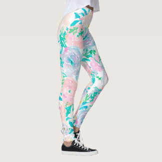 delicate colors big watercolor flowers leggings