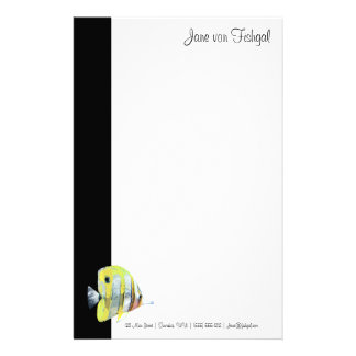 Delicate Copper-banded Butterfly Fish Stationery
