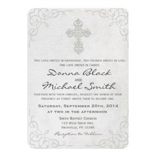 Attractive Delicate Cross Religious Wedding Invitations