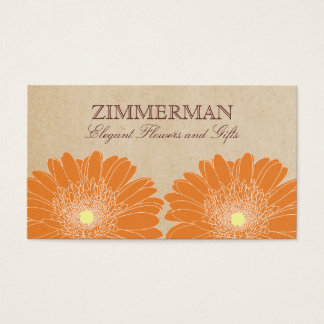 Delicate Daisies Business Card, Orange Flowers Business Card