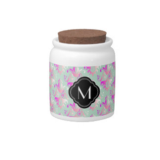 Delicate Damask Design with Monogram Candy Jars