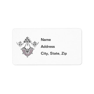 Delicate Deco Heart and Floral Decoration Label
