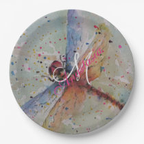 DELICATE DRAGON FLY MONOGRAM PARTY PAPER PLATE