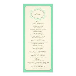 Delicate Dream Wedding Menu in Aqua Card