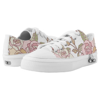 Delicate Engraved Pink Roses Printed Shoes