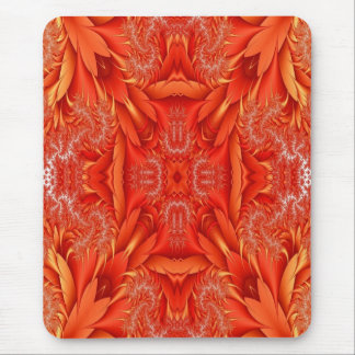 Delicate Feather Fractal - red orange Mousepad