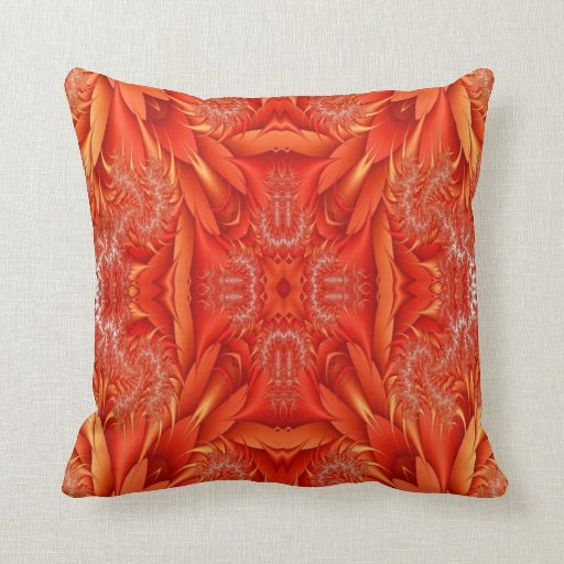 Red And Orange Decorative Pillows : Delicate Feather Fractal - red orange Throw Pillow Zazzle