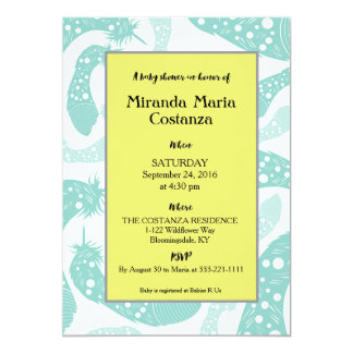 Delicate Feathers Neutral Baby Shower Invitation