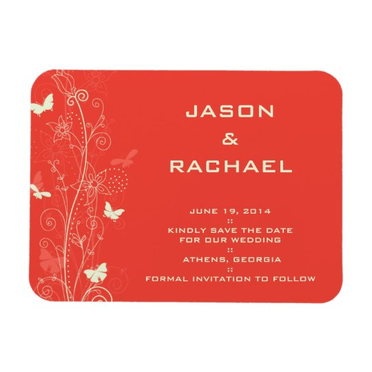 Delicate floral and butterflies save the date magn magnet