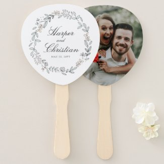 Delicate Floral and Photo Wedding Hand Fan