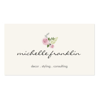 Delicate Floral Bouquet Beauty and Style Ivory Business Card